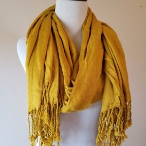 Accessories - Yellow Fringed Scarf